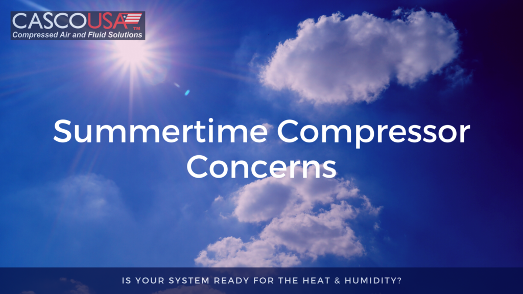 """""""Summertime Compressor Concerns"""" written in white over a background of a hot summer sky"""